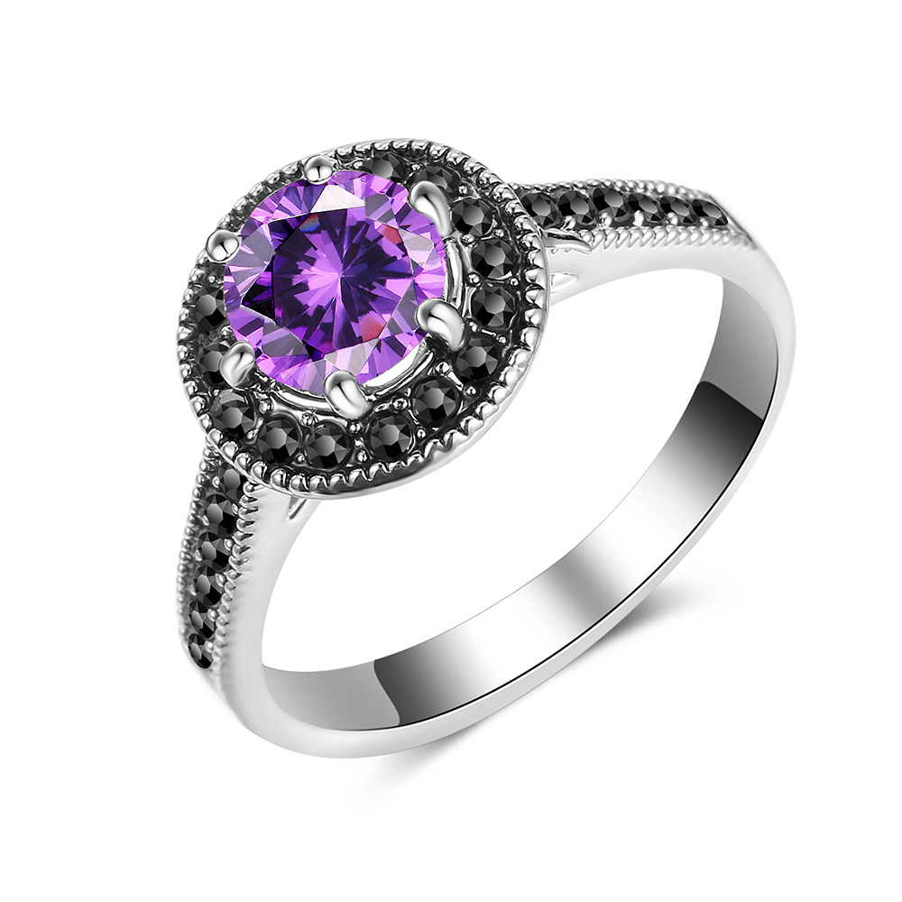 Fashion Simple Design Jewelry Finger Ring with Purple Stone