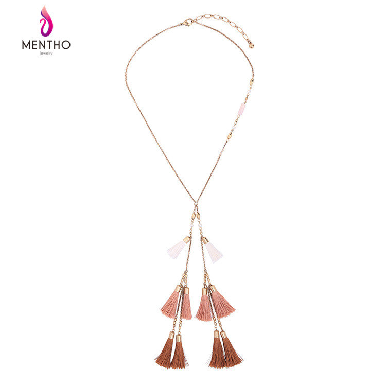 New Fashion Retro Ethnic Long Alloy Women's Sweater Necklace Tassel Pendant with Pearl