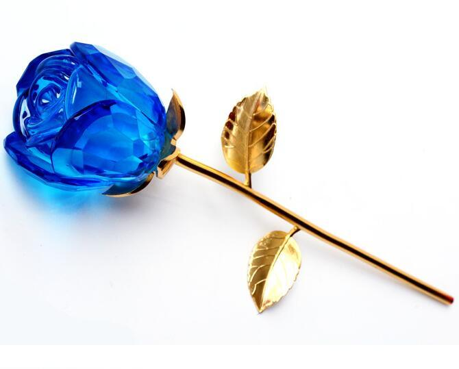 High Quality Crystal Glass Rose Flower for Souvenir