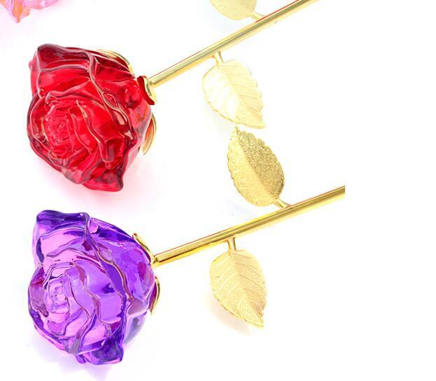 Wholesale Artificial Flowers Crystal Glass Rose