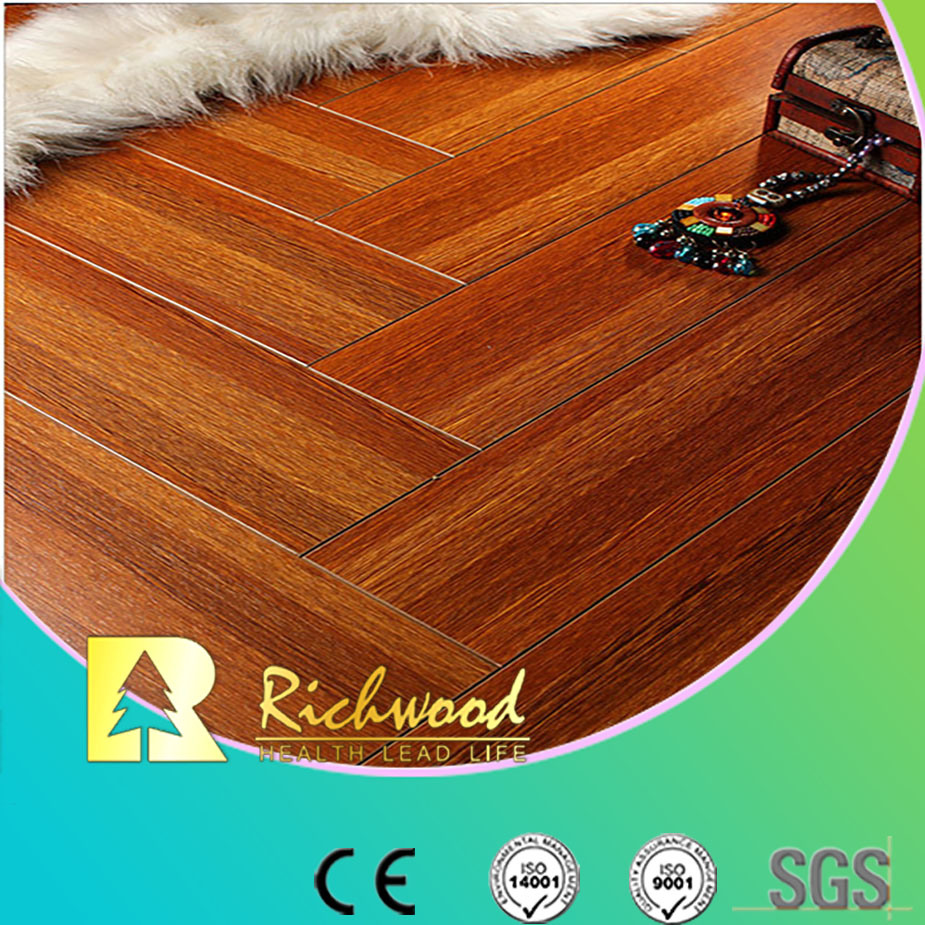 Commercial 12.3mm AC4 Crystal Cherry Sound Absorbing Laminate Floor