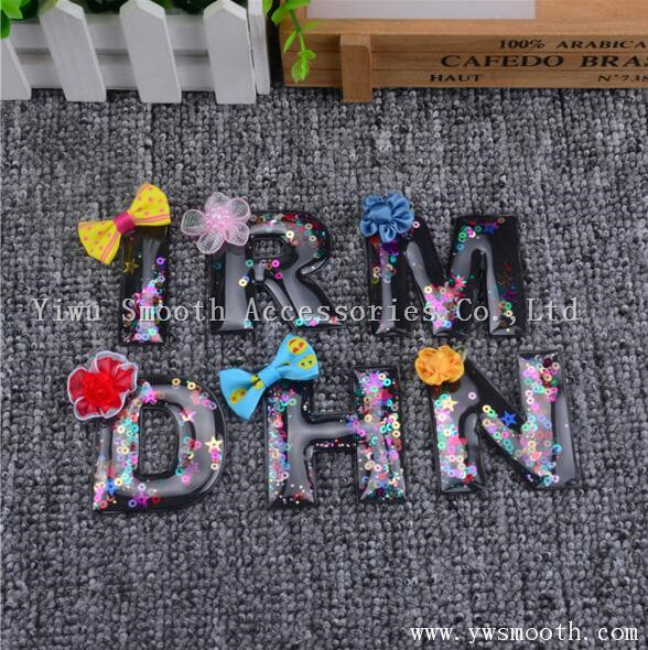 Flower 3D Letter Patch Crystal Beads Motif Applique for Clothing
