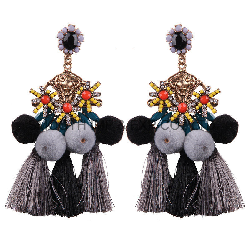 Fashion Handmade Point Beads Ball Pompom Tassel Earrings Gift Jewelry