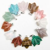 Natural Gemstone Crystal Onyx Charms Leaf Pendants Suspension