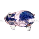 Inside-out Blue Flicker Frit Pink Pig Glass Hand Pipe (ES-HP-148)