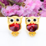Brand Jewelry Crystal Owl Stud Earrings for Women