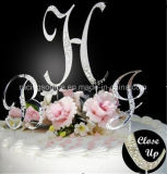 French Font Rhinestone Initial Letter Wedding Cake Topper for Wedding