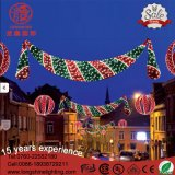 LED Red and Green Motif Across Street Light Christmas Decoration for Holiday