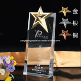 High Quality Cheap Crystal Trophy Award with Five Star