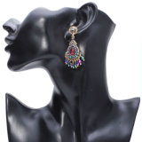 Bluesilver Color Chandelier Crystal Long Earrings for Women