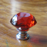 Red Kids Crystal Glass Knobs in Silver