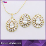 Hotsale Fashion Zirconia Brass Gold Jewelry Sets for Girls