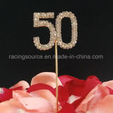 50th Number Gold Wedding Annivesary Rhinestone Wedding Cake Topper for Birthday Party