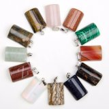 Mixed Color Natural Stone Agate Onyx Crystal Necklaces Pendants Charms