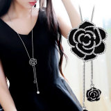 Sweater Chain Fashion Metal Chain Crystal Flower Pendant Necklaces