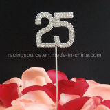 25th Number Silver Wedding Anniversary Rhinestone Cake Topper for Wedding Decoration