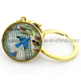Round Dome Glass Metal Key Holder for Promotional Gifts